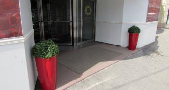 Эксклюзивные грязезащитные решетки красного цвета на вход в здание